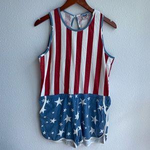 Junk Food | Flag Patriotic Americana Romper | L